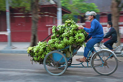 Cycle Loaded With Bananas Art Print by Keren Su