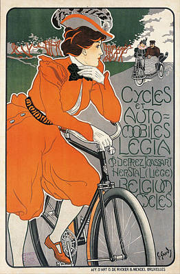 Bycicle Drawing - Cycles Et Automobiles Legia by Georges Gaudy