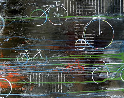Cycling Across History Art Print by Vivian Mora