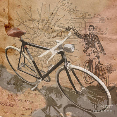 Stain Digital Art - Cycling Gent by Sassan Filsoof