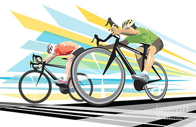 Green Digital Art - Cycling Sprint Poster Print Finish Line by Sassan Filsoof