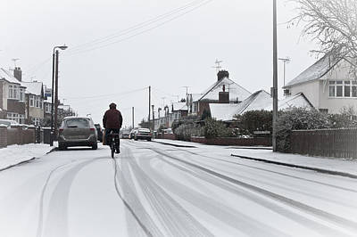Winter Road Scenes Photograph - Cyclist In The Snow by Tom Gowanlock
