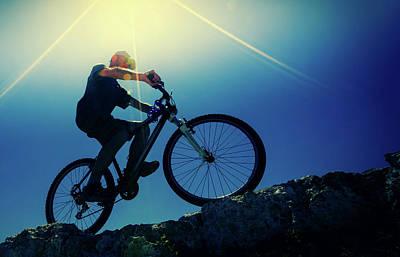 Cyclist On Bike Art Print by Wladimir Bulgar