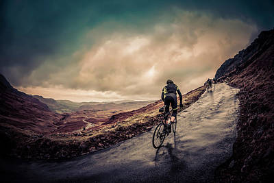 Cyclist On Hardknott Ramp Art Print by Steve Fleming