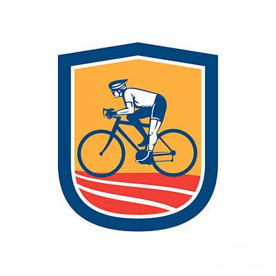 Triathlete Digital Art - Cyclist Riding Bicycle Cycling Side View Retro by Aloysius Patrimonio