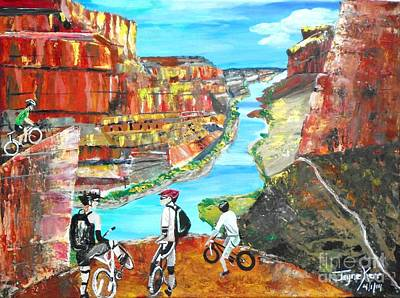 Cyclists In Grand Canyon Art Print