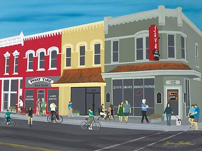 Arkansas Painting - Cyclists On The Square by Clinton Cheatham