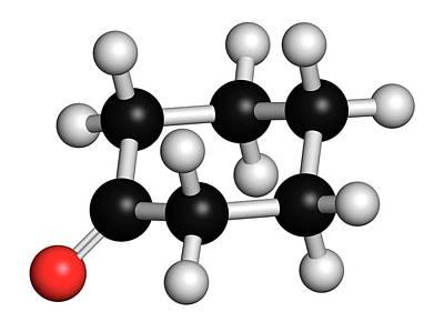 Cyclohexanone Organic Solvent Molecule Print by Molekuul