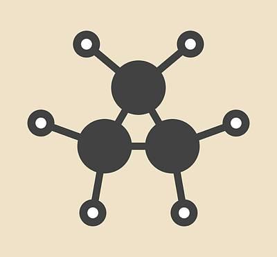 Propane Photograph - Cyclopropane Cycloalkane Molecule by Molekuul