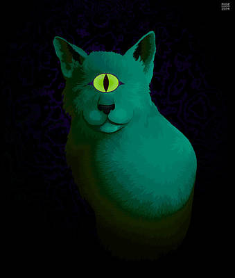 Cyclops Digital Art - Cyclops Cat by John Ruiz