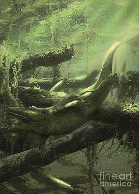 Crocodile Digital Art - Cyclotosaurus Was A Huge Amphibian That by Jan Sovak