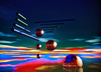 Cylinders And Spheres Art Print by Ramon Martinez