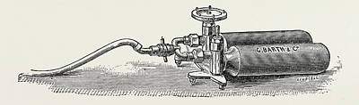 Cylinders Drawing - Cylinders For Nitrous Oxide, Medical Equipment by Litz Collection