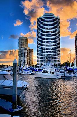 Photograph - Cylindrical Skyscaper On Waterfront At Sunset by David Rich