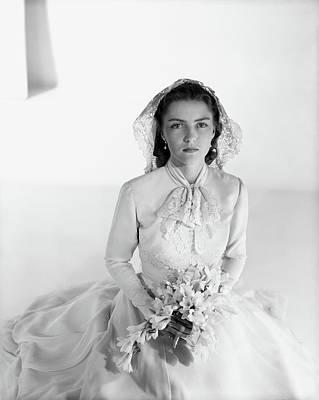 Cynthia Boissevain Wearing A Bridal Gown Art Print