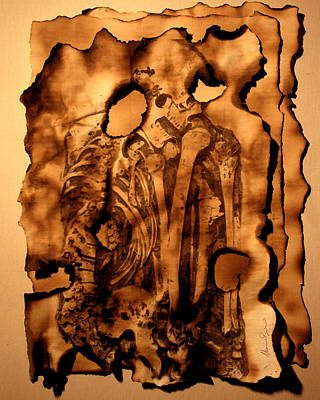 Skeleton Card Mixed Media - Cyphers And Flames Lost Pages by Mariano Baino