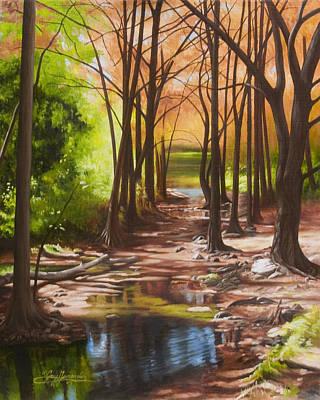 Wimberley Painting - Cypress Creek In Autumn by Gary  Hernandez