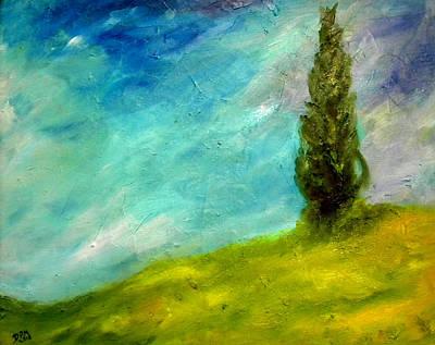 Cypress In Tuscany  Art Print by David McGhee