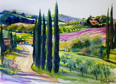 Painting - Olives Cypress And Lavender Chianti Sold by Therese Fowler-Bailey