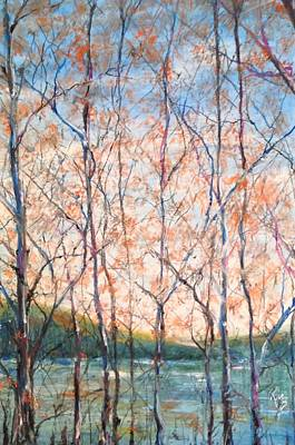 Arkansas Painting - Cypress Trees On The Lake by Robin Miller-Bookhout