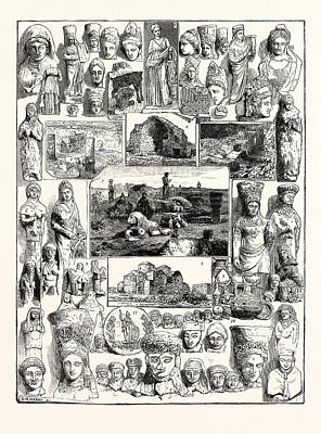 Cypriote Antiquities Discovered At The Temple Of Artemis Art Print by English School