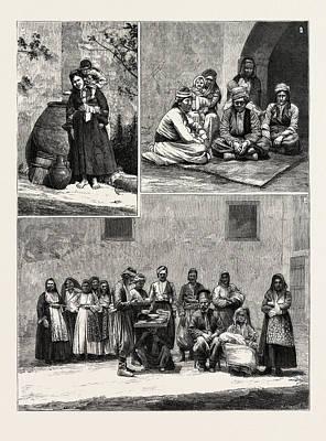 Cyprus Drawing - Cyprus 1. An Arab Beggar Woman. 2 And 3 by Cyprian School