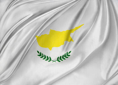 Cyprus Flag Art Print by Les Cunliffe