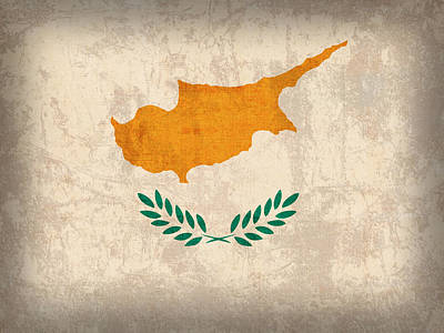 Cyprus Flag Vintage Distressed Finish Art Print