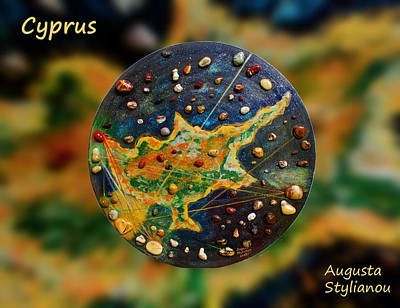 Mars Black Painting - Cyprus Gold Leaf  by Augusta Stylianou