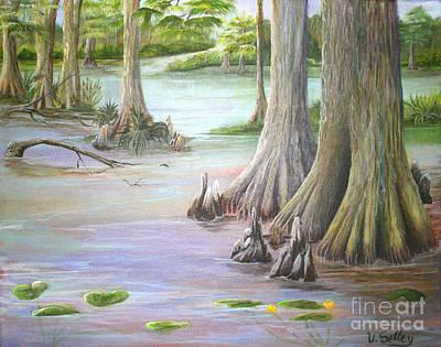 Rawlings Painting - Cyprus Of Florida by Virginia Selley