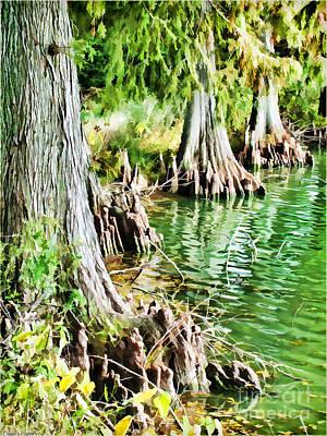 Cyrpess Tree Knees Digital Paint Art Print by Debbie Portwood