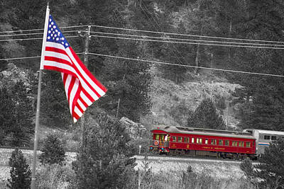 Photograph - Cyrus K. Holliday Rail Car And Usa Flag Bwsc by James BO  Insogna