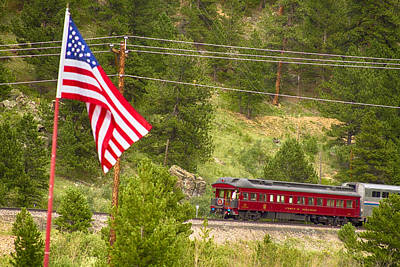 Cyrus K. Holliday Rail Car And Usa Flag Art Print