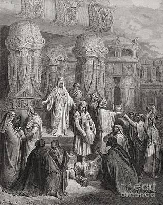 Jerusalem Drawing - Cyrus Restoring The Vessels Of The Temple by Gustave Dore