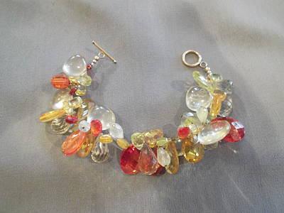 Wire Wrap Bracelet Jewelry - Cz Citrine Prehnite Bracelet by Jan Durand