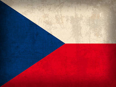 Czech Republic Flag Vintage Distressed Finish Art Print