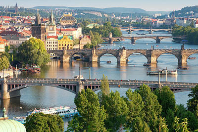 Vltava Photograph - Czech Republic, Prague - Bridges by Panoramic Images