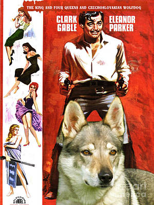 Painting - Czechoslovakian Wolfdog Art Canvas Print - The King And Four Queens Movie Poster by Sandra Sij