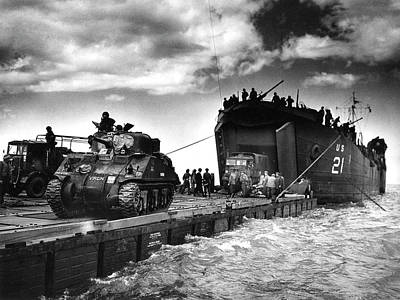 D-day Landings Harbour Art Print by Us National Archives