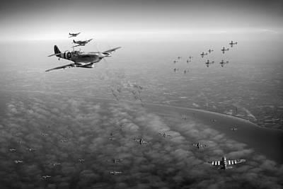 Digital Art - D-day Operation Mallard Black And White Version by Gary Eason