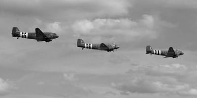 Photograph - D-day Skytrain Trio Black And White Version by Gary Eason