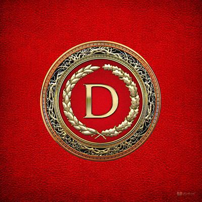 Digital Art - D - Gold Vintage Monogram On Red Leather by Serge Averbukh