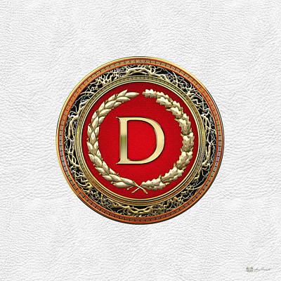 Digital Art - D - Gold Vintage Monogram On White Leather by Serge Averbukh