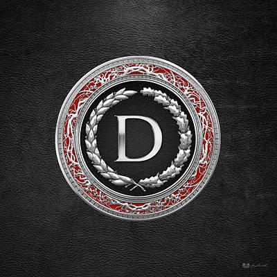 Digital Art - D - Silver Vintage Monogram On Black Leather by Serge Averbukh