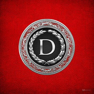 Digital Art - D - Silver Vintage Monogram On Red Leather by Serge Averbukh