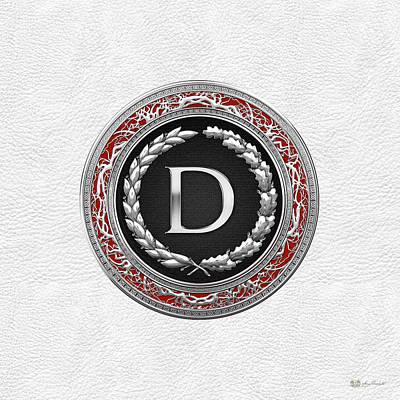 Digital Art - D - Silver Vintage Monogram On White Leather by Serge Averbukh