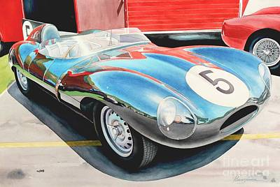 Jaguar Art Painting - D Type by Robert Hooper