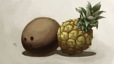 Da Pinepple With Cocoanut  Art Print by Christopher Evans