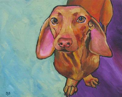 Painting - Dachshund - Stanley by Janet Burt