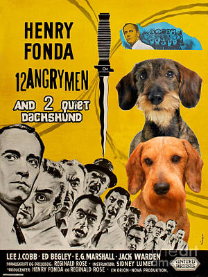 Painting - Dachshund Art Canvas Print - 12 Angry Men Movie Poster by Sandra Sij